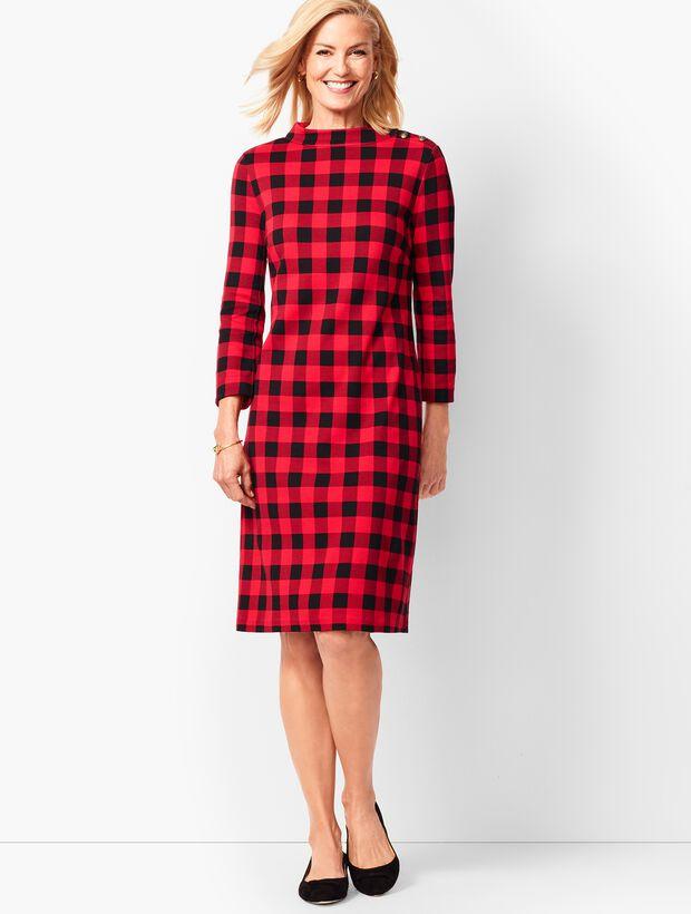 Mockneck Cotton Knit Shift Dress