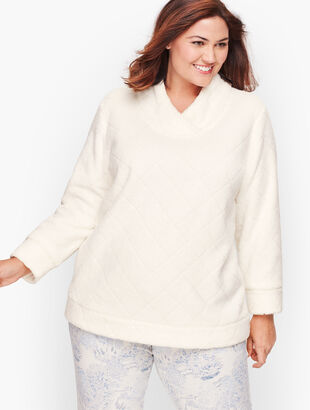 Diamond Sherpa Wrap Neck Pullover