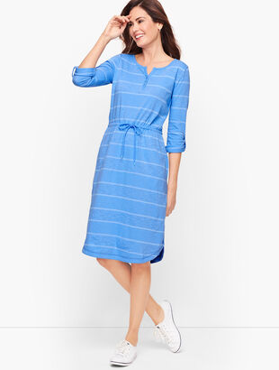 Stripe Roll Cuff Henley Dress