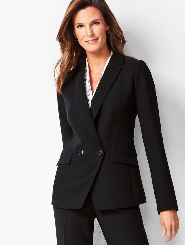 Seasonless Crepe Double-Breasted Blazer