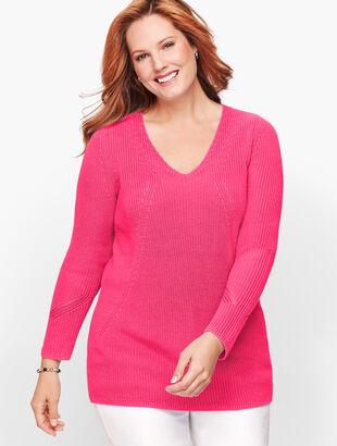 V-Neck Shaker Stitch Sweater