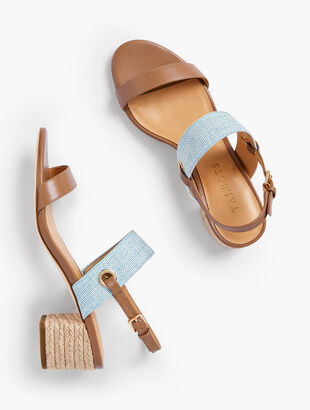 Mimi Rope-Heel Sandals - Leather & Fabric