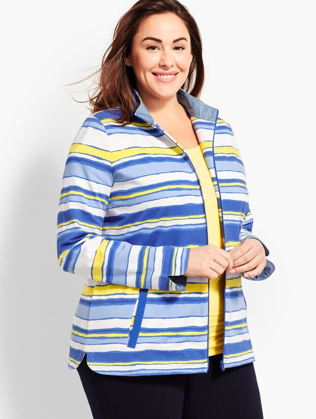 Plus Size Exclusive Stripe Terry Zip-Up Jacket