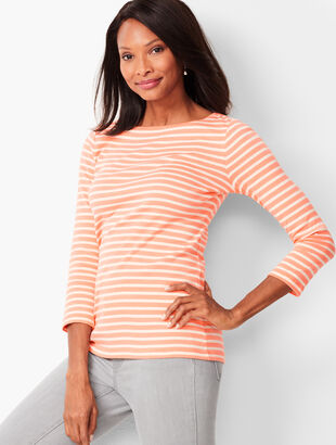Cotton Bateau-Neck Tee - Skinny Stripe