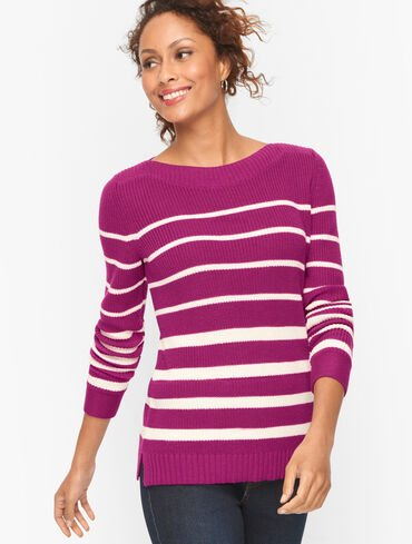Shaker Stitch Sweater - Variegated Stripe
