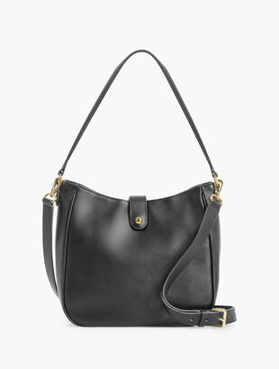 Soft Pebbled Leather Crossbody Hobo Bag