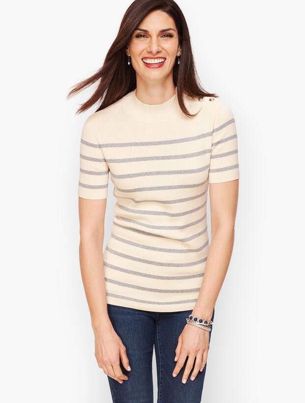 Mockneck Button Shoulder Sweater - Metallic Stripe