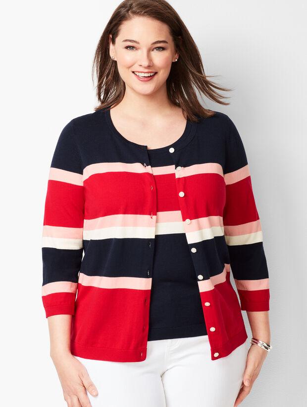 Charming Cardigan - Three-Quarter Sleeves - Colorblock