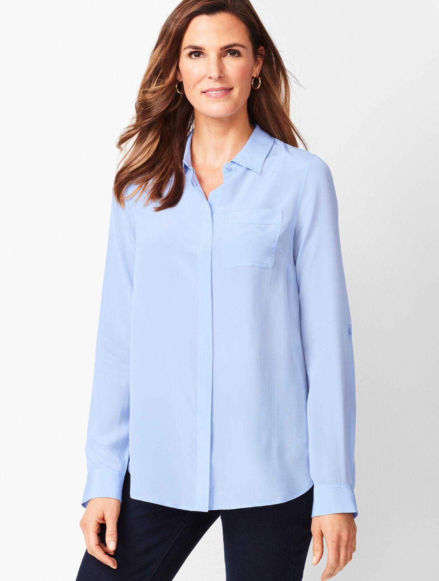 silk button up shirt womens
