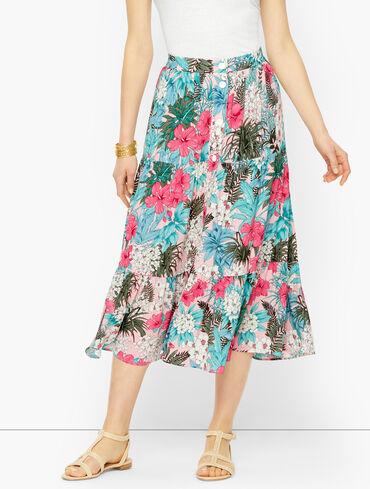 Floral Jungle Tiered Midi Skirt