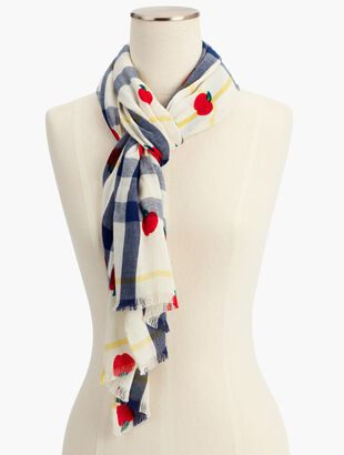 Textured Tartan Apple-Print Scarf