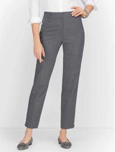 Luxe Wool Slim Ankle Pants - Grey Mélange