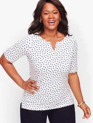 Split Neck Tee - Dot