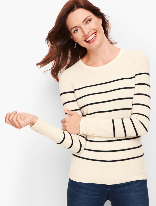 Cashmere Button Cuff Sweater - Stripe
