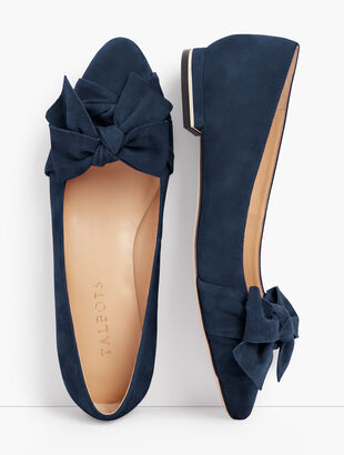 Edison Wrapped Bow Flats - Suede