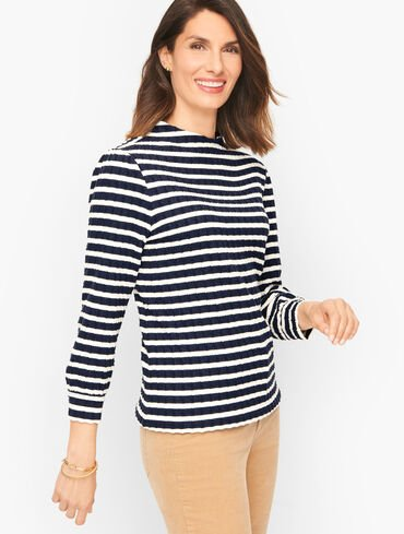 Stripe Jacquard Funnel Neck Pullover