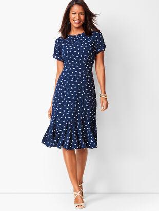 Leaf-Print Georgette Shift Dress