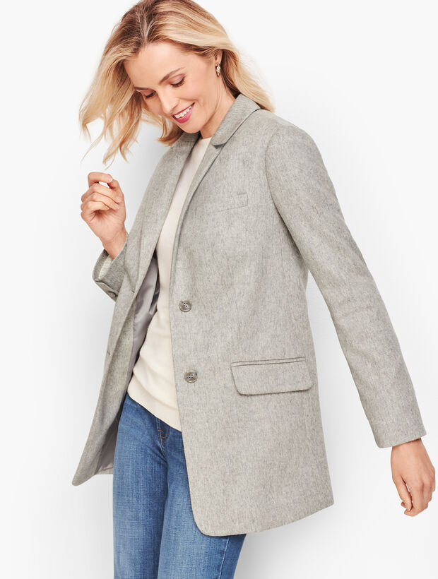 Brushed Italian Wool Long Blazer