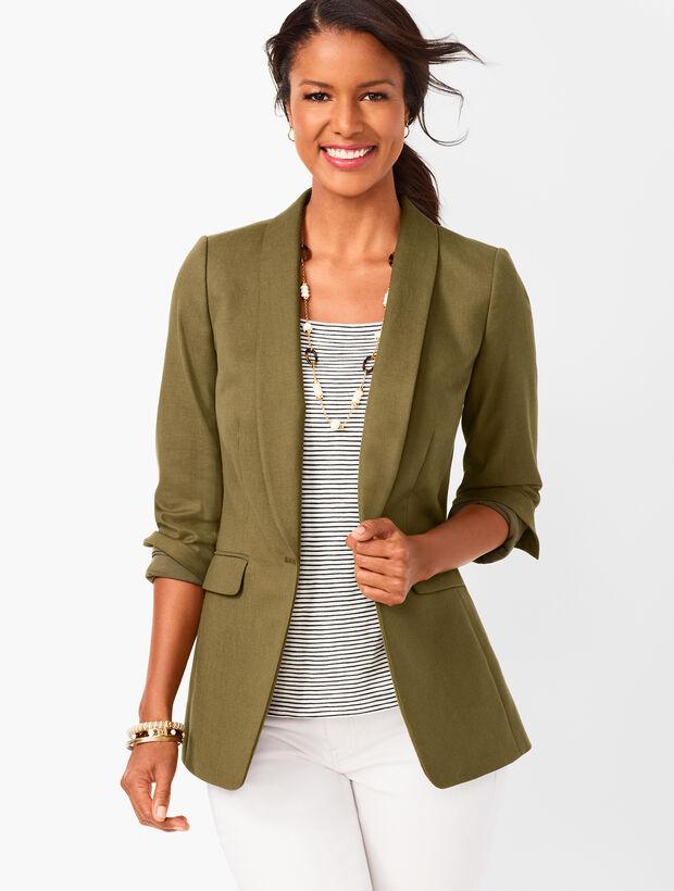 Long Linen-Blend Blazer