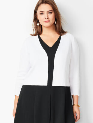 Plus Size Scallop-Edge Shrug