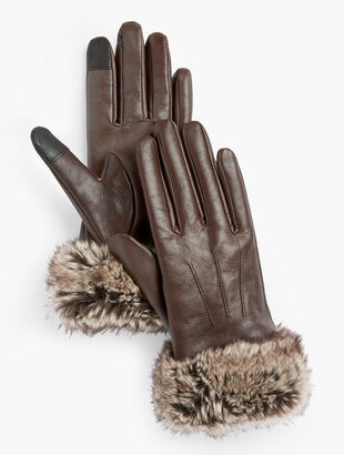 Faux Fur Trim Leather Touch Gloves