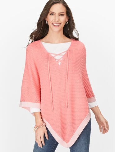 Lace-Up Poncho - Tipped