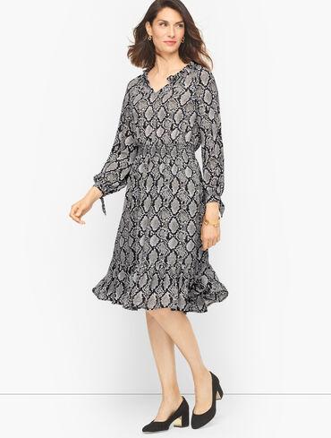 Tie Sleeve Fit & Flare Dress - Snakeskin Print
