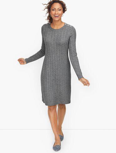 Cableknit Button Shoulder Sweater Dress