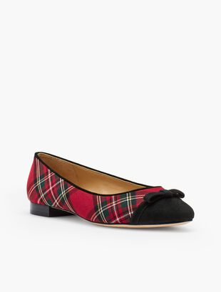 Edison Bow-Detail Flats - Tartan Plaid