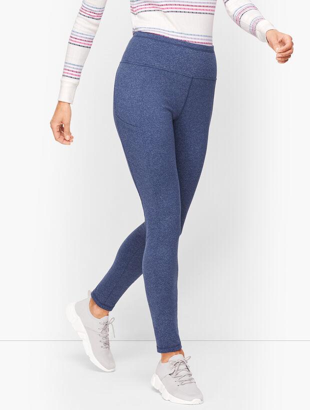Textured Slip Pocket Leggings- Heathered