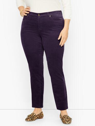 Plus Size Exclusive Stretch Corduroy Slim Ankle Pants