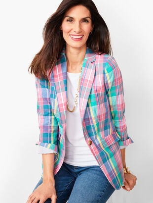 Classic Summer Blazer  - Madras Plaid