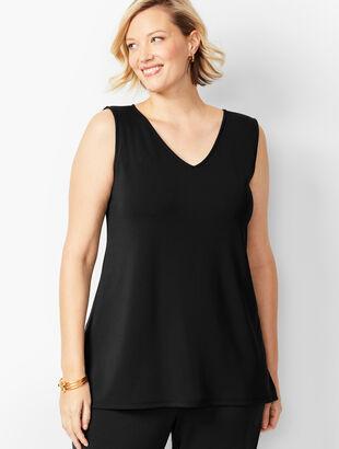 Plus Size Knit Jersey Shell - V-Neck