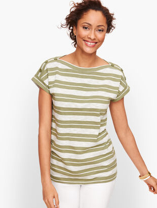 Button Shoulder Tee - Stripe