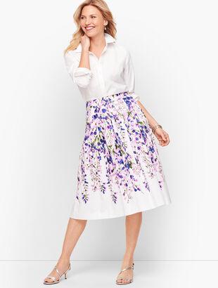 Wisteria Print Midi Skirt