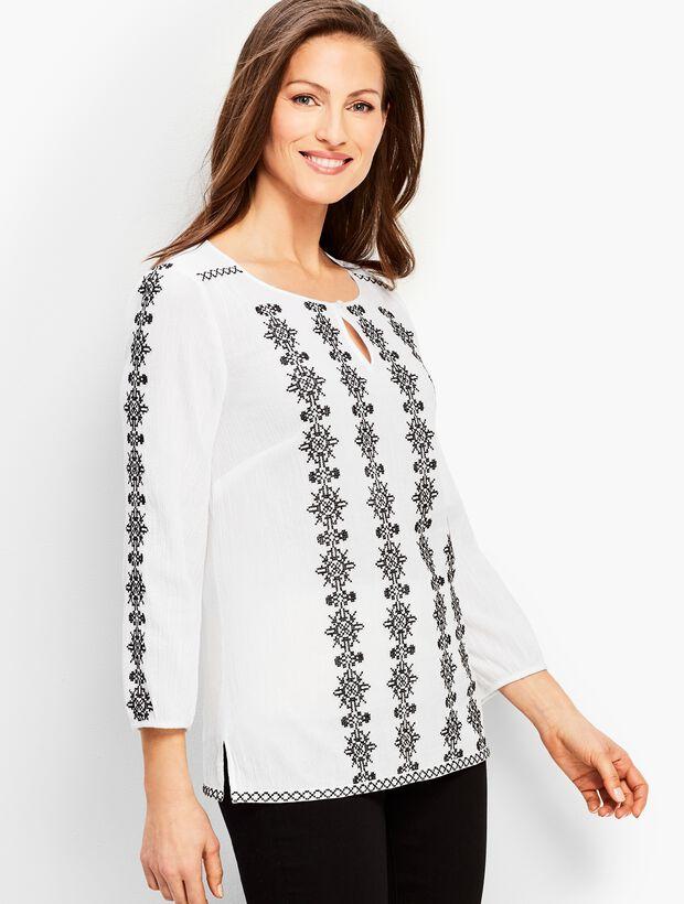 b60337e5894 Embroidered Gauze Shirt