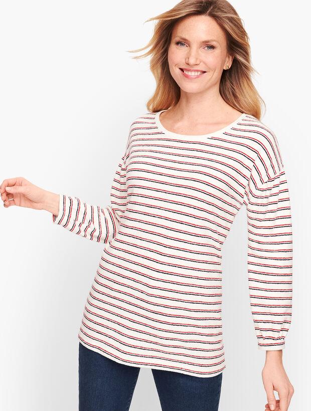 Gathered Sleeve Stripe Top