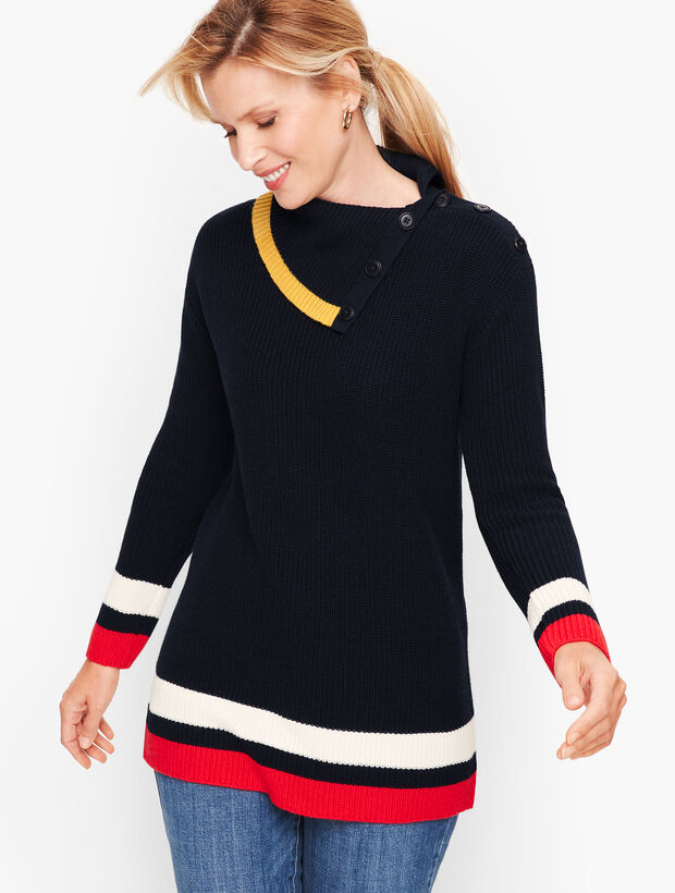 Tipped Split Neck Shaker Stitch Sweater