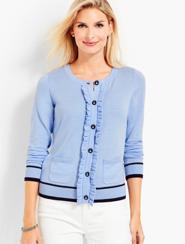 Ruffle-Front Cardigan Sweater