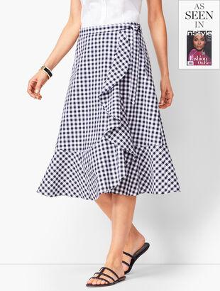Gingham Tie-Front Midi Skirt