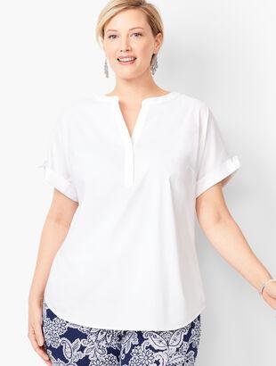 Tie-Sleeve Poplin Shirt