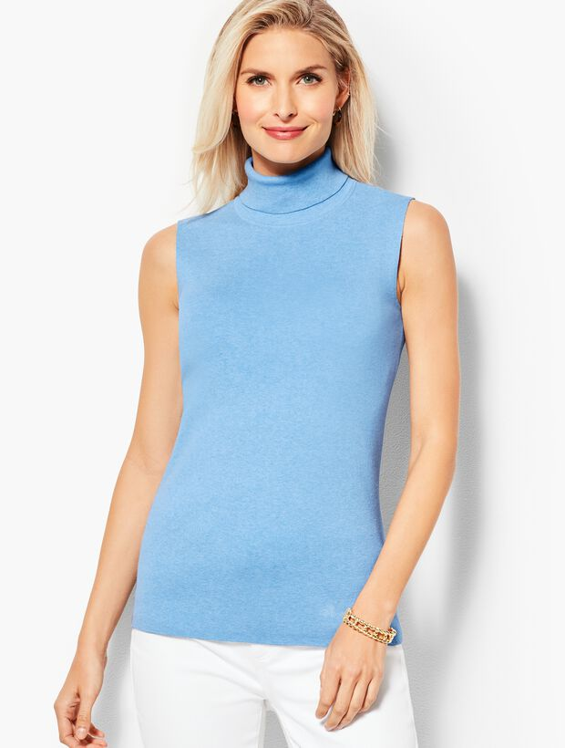 Smooth-Knit Turtleneck Shell