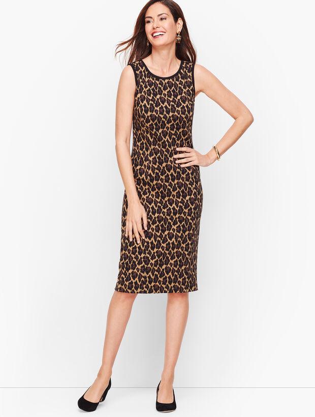 Jacquard Cheetah Print Sheath Dress