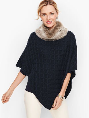 Textured Cableknit Poncho