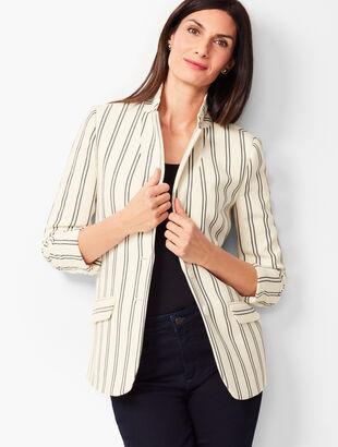 Aberdeen Knit Blazer - Textured Ponte - Stripe