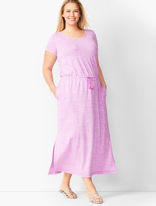 Tassel-Tie Soft Jersey Maxi Dress