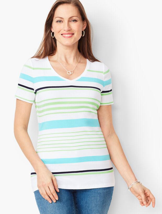 Cotton V-Neck Tee - Multi-Stripe