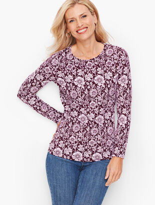 Long Sleeve Crewneck Tee - Floral Vines