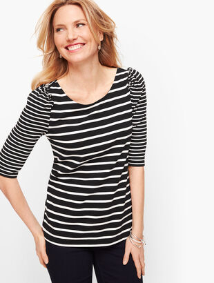 Ruched Sleeve Stripe Tee