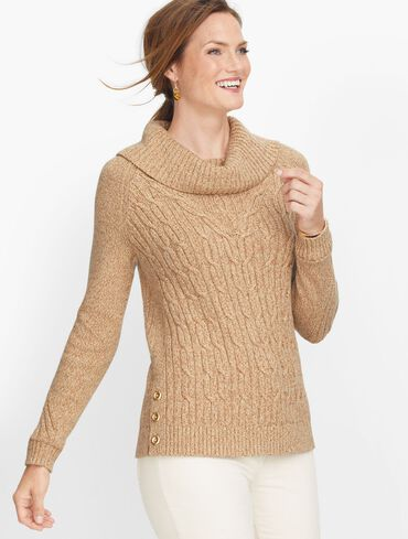 Cable Cowlneck Sweater - Marl